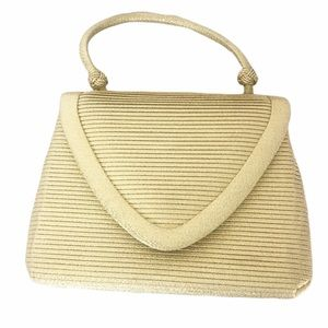 Vintage Bags - Vintage mini gold ribbed handbag snap closure